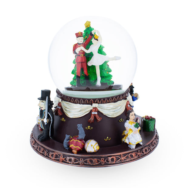 Nutcracker Dancing with Clara Spinning Musical Snow Globe by BestPysanky