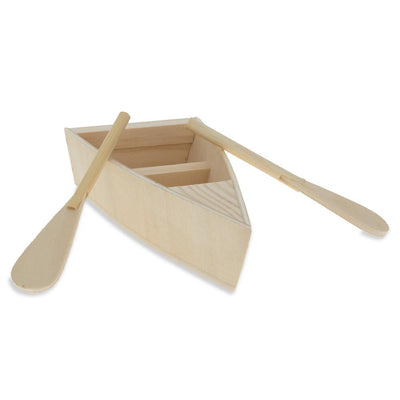 Unfinished Unpainted Wooden Fishing Boat with Oars DIY Craft 5.25 Inches by BestPysanky