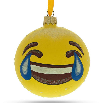 Laughing Face Emoji Glass Ball Christmas Ornament 3.25 Inches by BestPysanky