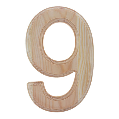 Unfinished Wooden Arial Font Number 9 (Nine) 6.25 Inches by BestPysanky