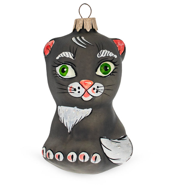 Grey Cat Mouth Blown Glass Christmas Ornament 4.3 Inches by BestPysanky