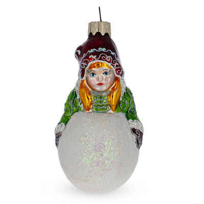 Girl Making Snowball Mouth Blown Glass Christmas Ornament 4.5 Inches by BestPysanky