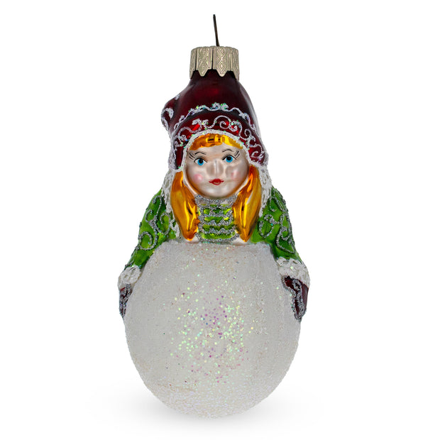 Girl Making Snowball Glass Christmas Ornament by BestPysanky