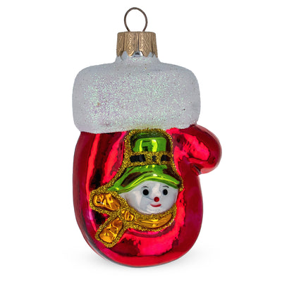 Snowman Mitten Mouth Blown Glass Christmas Ornament 3.7 Inches by BestPysanky