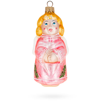 Angel in Pink Dress Glass Christmas Ornament by BestPysanky