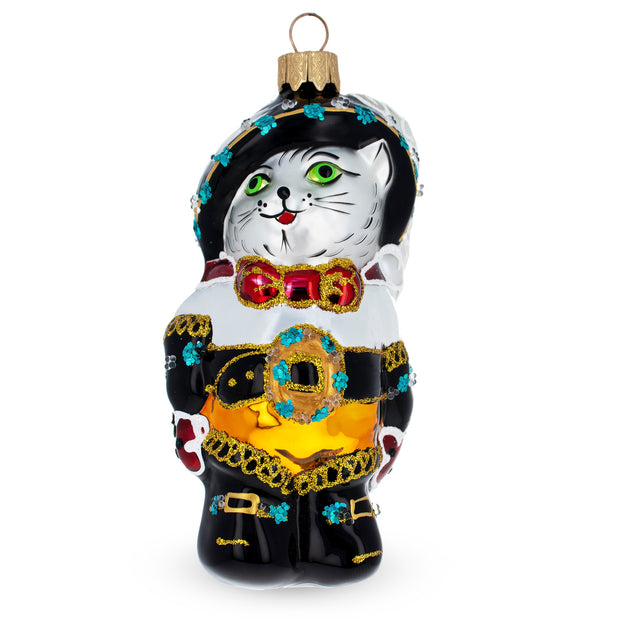Puss in the Boots Glass Christmas Ornament by BestPysanky