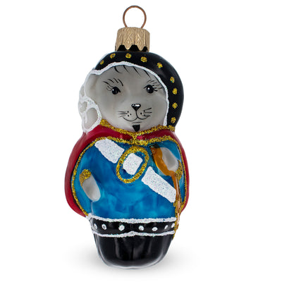Musketeer Mouse Glass Christmas Ornament by BestPysanky