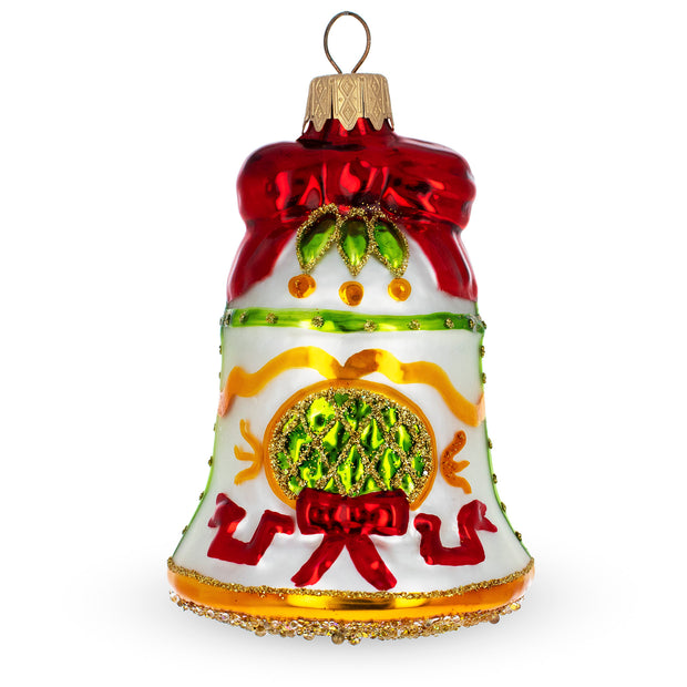 Festive Bell on White Glass Christmas Ornament by BestPysanky