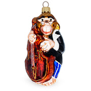 Monkey Playing Contrabass Glass Christmas Ornament by BestPysanky