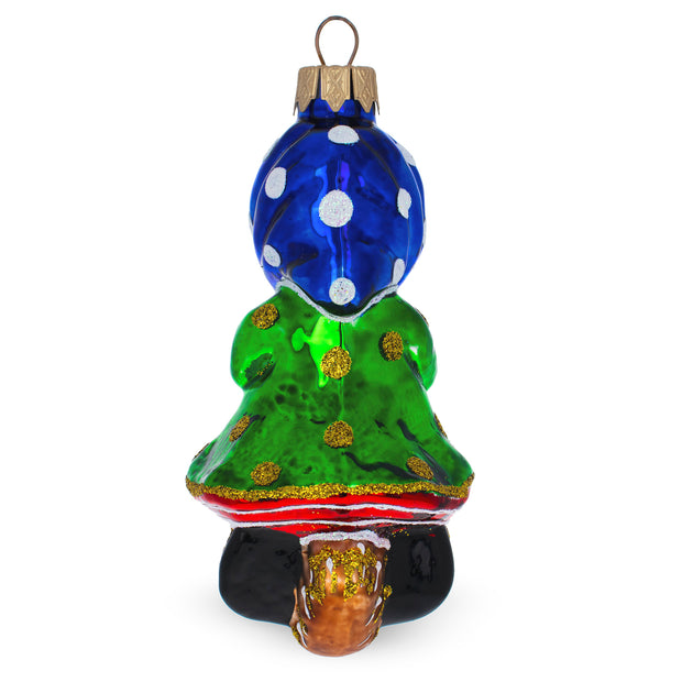 Baba Yaga Mouth Blown Glass Christmas Ornament 4.75 Inches