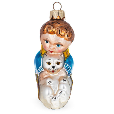 Boy Petting Cat Mouth Blown Glass Christmas Ornament 4.3 Inches by BestPysanky
