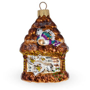 Birdhouse Mouth Blown Glass Christmas Ornament 3.7 Inches
