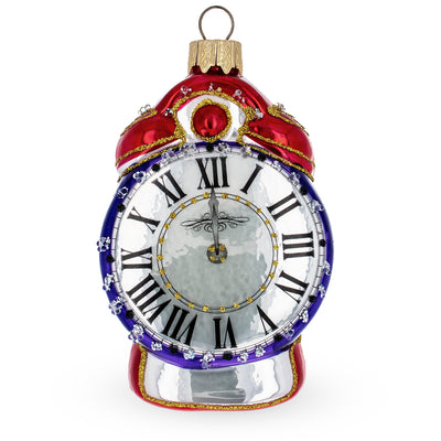 Vintage Style Alarm Clock Glass Christmas Ornament by BestPysanky