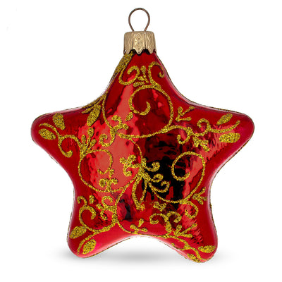 Glossy Red Star with Gold Pattern Glass Christmas Ornament by BestPysanky