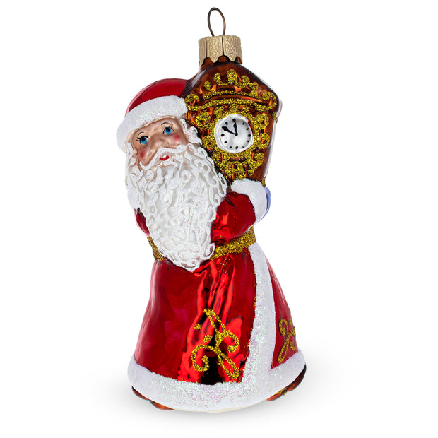 Santa with Clock Glass Mouth Blown Glass Christmas Ornament 5 Inches by BestPysanky