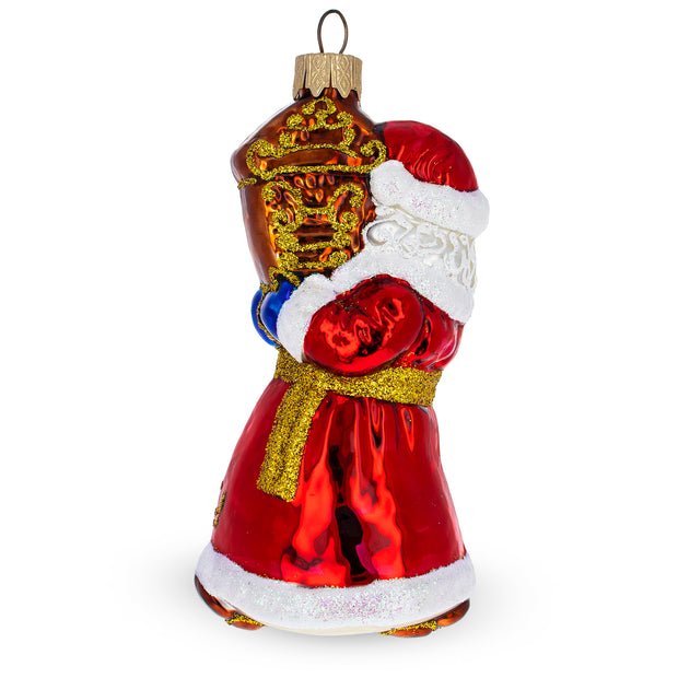 Santa with Clock Glass Mouth Blown Glass Christmas Ornament 5 Inches
