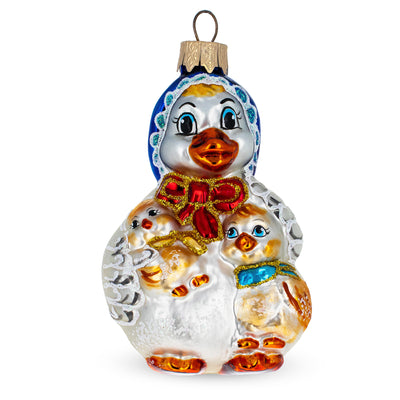 Mother Goose with Ducklings Glass Christmas Ornament by BestPysanky