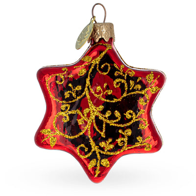 Glossy Red Hexagon with Golden Pattern Glass Christmas Ornament by BestPysanky