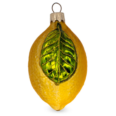Lemon with Shiny Leaf Glass Christmas Ornament by BestPysanky