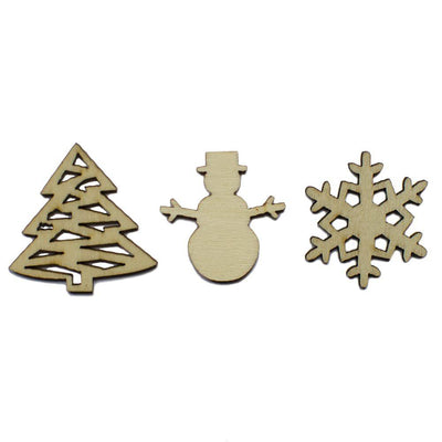 Set of 3 Miniature Christmas Unfinished Wooden Shapes Craft Cutouts by BestPysanky