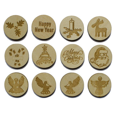 12 Christmas Laser Engraved Unfinished Wooden Circle Round Cutouts 2.25 Inches by BestPysanky
