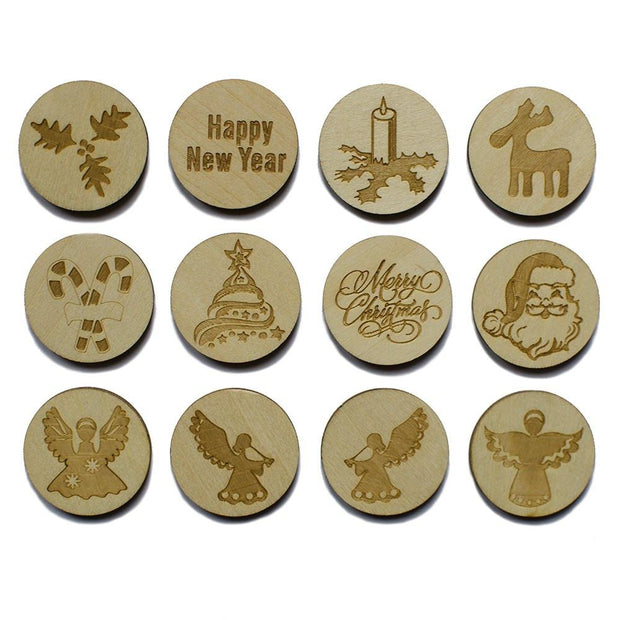 Set of 12 Wooden Christmas Round Cut Outs 2.25 Inches by BestPysanky