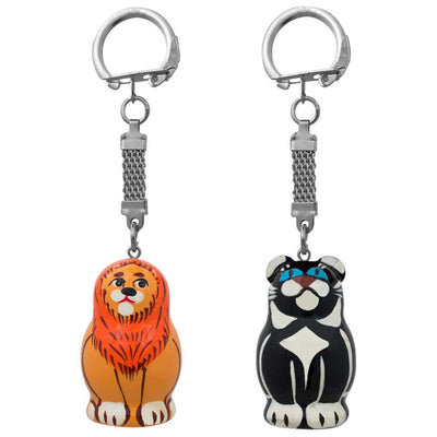 Set of 2 Lion and Black Panther Animal Matryoshka Wooden Key Chains 1.75 Inches by BestPysanky