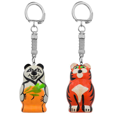 Set of Tiger and Panda Wooden Key Chains 1.75 Inches by BestPysanky
