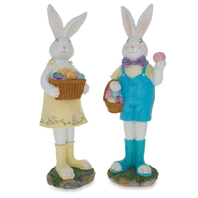 Two Bunnies with Easter Eggs Figurines 12 Inches by BestPysanky