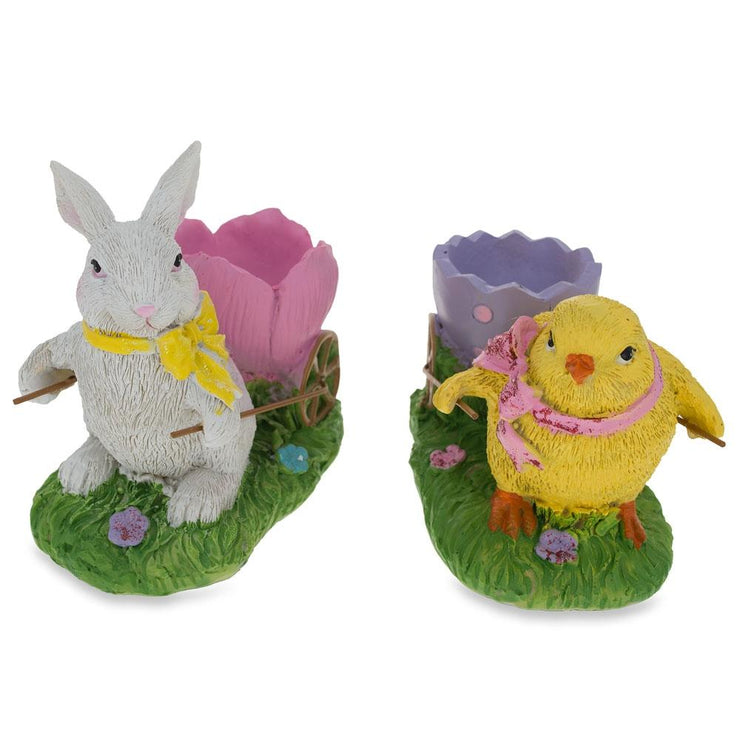 Buy Online Gift Shop Set of Chick and Bunny Carrying Easter Egg Holder Figurines 5 Inches