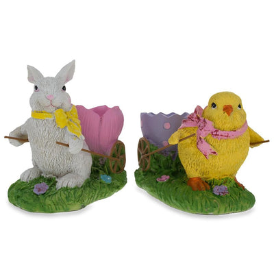 Set of Chick and Bunny Carrying Easter Egg Holder Figurines 5 Inches by BestPysanky