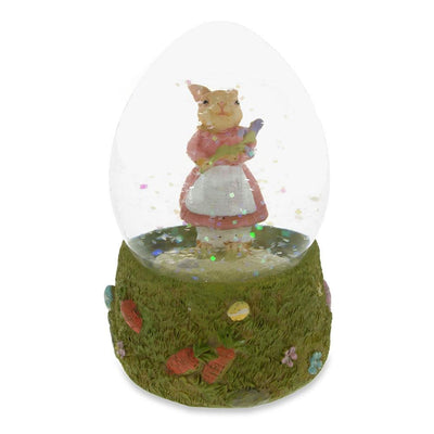 Mrs. Bunny with the Purple Iris Flower Water Snow Globe by BestPysanky