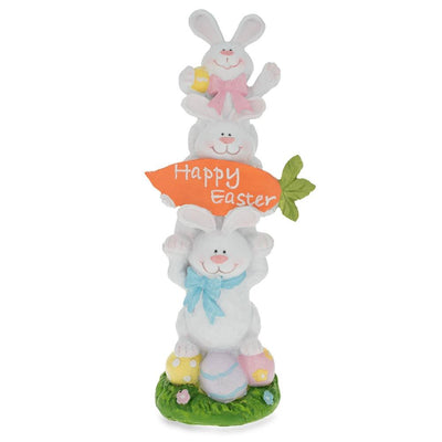 Three Bunnies Figurine Holding Happy Easter Carrot Sign 13 Inches by BestPysanky