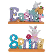 Set of 2 Easter and Spring Signs with Mr. & Mrs. Bunny 8 Inches by BestPysanky