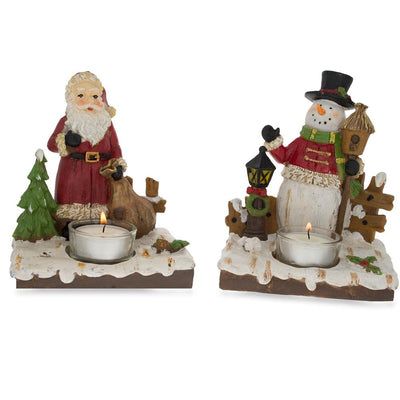 Set of 2 Santa and Snowman Candle Holders 6 Inches by BestPysanky