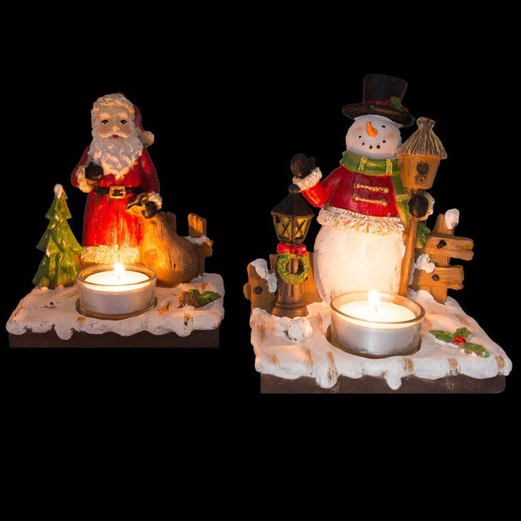 Buy Online Gift Shop Set of 2 Santa and Snowman Candle Holders 6 Inches