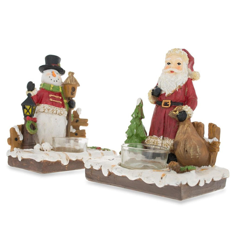 Set of 2 Santa and Snowman Candle Holders 6 Inches