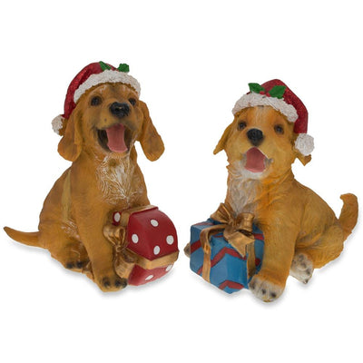 Set of 2 Golden Retriever Puppies Figurines with Christmas Gifts 5.75 Inches by BestPysanky