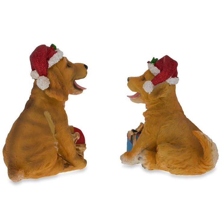 Buy Online Gift Shop Set of 2 Golden Retriever Puppies Figurines with Christmas Gifts 5.75 Inches
