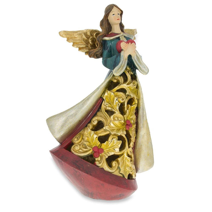 Guardian Angel Holding a Red Heart LED Lights Figurine 11.5 Inches by BestPysanky