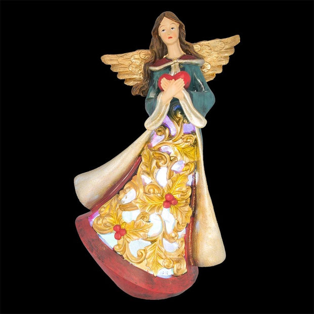 Buy Online Gift Shop Guardian Angel Holding a Red Heart LED Lights Figurine 11.5 Inches