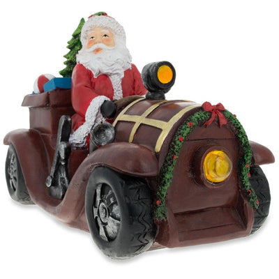 Santa Driving a Vintage Car with Christmas Gifts LED Lights Figurine 10.5 Inches Long by BestPysanky