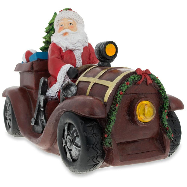 Santa Driving a Vintage Car with Christmas Gifts LED Lights Figurine by BestPysanky