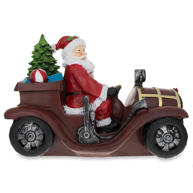 Santa Driving a Vintage Car with Christmas Gifts LED Lights Figurine