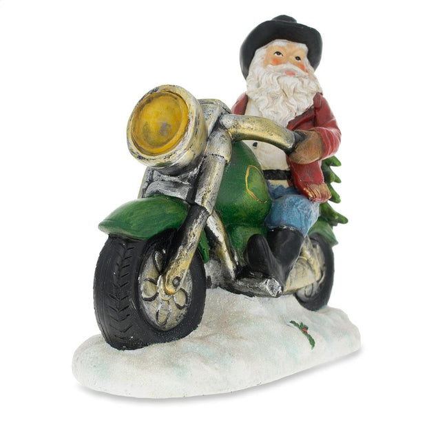 Western Cowboy Santa on a Motorcycle LED Light Figurine 8.5 Inches by BestPysanky
