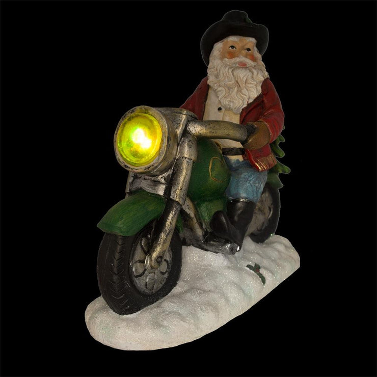 Buy Online Gift Shop Western Cowboy Santa on a Motorcycle LED Light Figurine 8.5 Inches