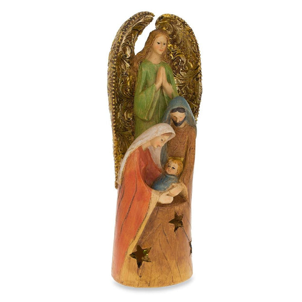 Buy Online Gift Shop Guardian Angel Over Holy Family LED Lights Figurine 10 Inches