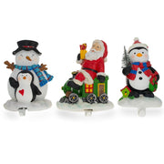 Set of 3 Hand Painted Stocking Holders - Penguin, Snowman & Santa 6.5 Inches by BestPysanky