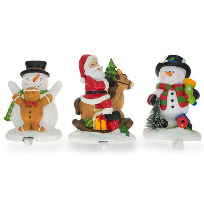 Set of 3 Hand Painted Stocking Holders - Snowmen & Santa 6.5 Inches by BestPysanky