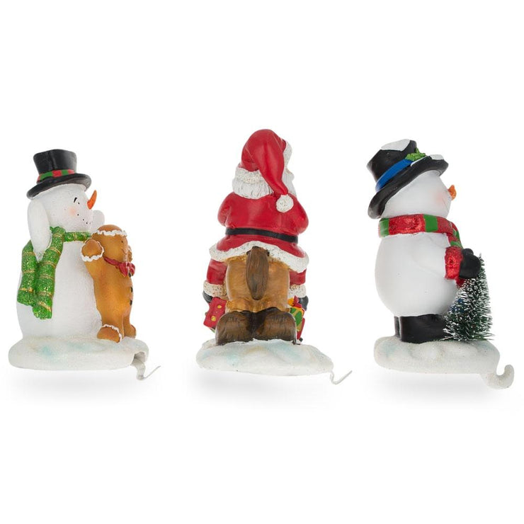 Buy Online Gift Shop Set of 3 Hand Painted Stocking Holders - Snowmen & Santa 6.5 Inches